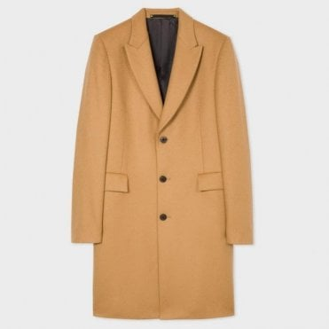 Paul Smith Tan Wool & Cashmere Blend Peak-Lapel Epsom Overcoat PTXC/222P/A70 61