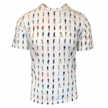 Paul Smith White Cotton 'People' Print T-Shirt