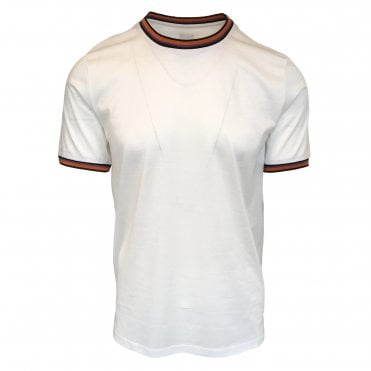 Paul Smith White Cotton T-Shirt with Artist Stripe