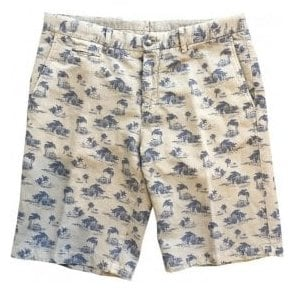 Altea Brown Linen/Cotton Blend Shorts With Navy Beach Print 1853302 32