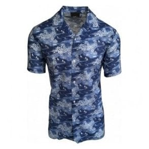 Altea Light Blue Short-Sleeve Floral Casual Shirt In Italian Cotton 1854091 2