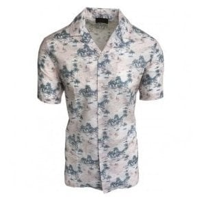 Altea Pink Short-Sleeve Floral Casual Shirt In Italian Cotton 1854091 78