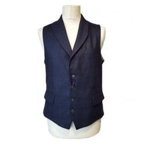 Circle of Gentlemen HAMILTON Dark Blue Check Waistcoat F007 07949 706