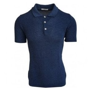 Circolo 1901 Blue Knitted Linen/Cotton Blend Astro Polo Shirt CN1963