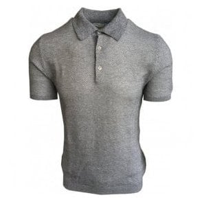Circolo 1901 Grey Moline Short-Sleeve Cotton/Linen Blend Polo Shirt CN1962