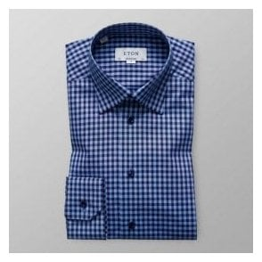Eton Shirts Contemporary Fit Dark Blue Check Shirt 27086134425