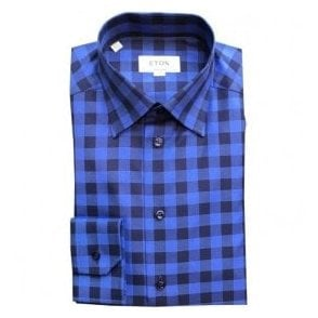 Eton Shirts Contemporary Fit Dark Blue Check Shirt With Hidden Button Down Collar 33656134425