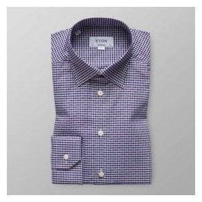 Eton Shirts Contemporary Fit Dark Blue Microcheck Shirt With Multicolour Square Pattern 39896131129