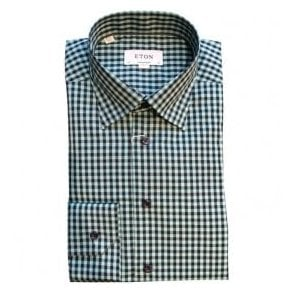 Eton Shirts Contemporary Fit Dark Green Check Shirt 27086134463