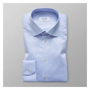 Eton Shirts Contemporary Fit Light Blue Shirt With Contrasting Patterned Trim 30000045821
