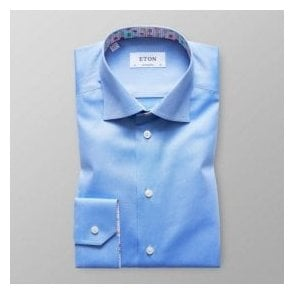 Eton Shirts Contemporary Fit Light Blue Shirt With Ice Cream Trim 30000046123