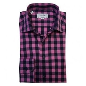 Eton Shirts Contemporary Fit Pink Large Check Shirt 33656134453