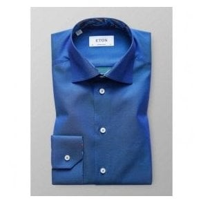 Eton Shirts Contemporary Fit Two-Tone Blue Shirt With Feather Trim 30000046525