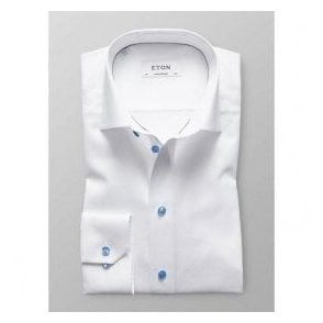 Eton Shirts Contemporary Fit White Shirt With Contrasting Buttons 30000045100