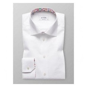 Eton Shirts Contemporary Fit White Shirt With Ice Cream Print Trim 30000046100