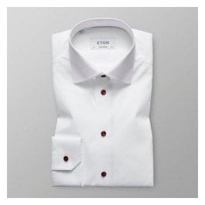 Eton Shirts Contemporary Fit White Shirt With Red Buttons 2567 00391 00