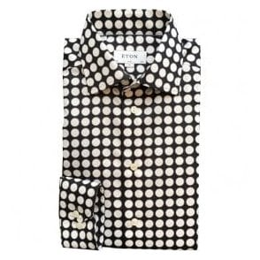 Eton Shirts Slim Fit Black Shirt With Large White Spots 33297951119