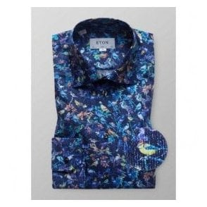 Eton Shirts Slim Fit Blue Shirt With Bird Print 33287951125