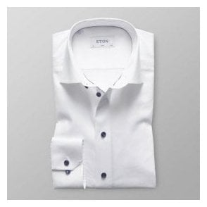 Eton Shirts SLIM FIT White Day Shirt With Dark Blue Trim 3000 00518 00