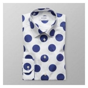 Eton Shirts Slim Fit White Shirt With Dark Blue Spot Print 20778851129