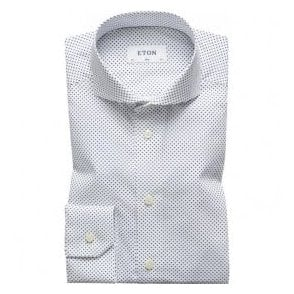 Eton Shirts Slim Fit White Spotted Poplin Shirt 20797351101
