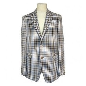 Etro Blue/Beige Patchwork Silk Blend Sports Jacket With Inner Paisley Pattern