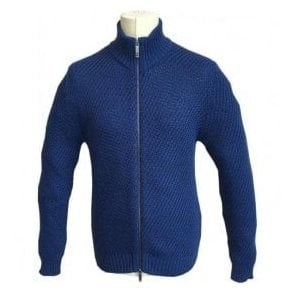 Etro 'Giubbotto Zip Diagonale - Maglia' Bright Blue Sportswear Zip Knitted Jumper 1M722 9631 - 0202