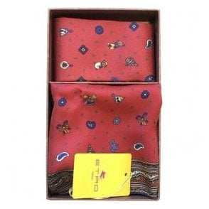 Etro Red Christmas Theme Silk Pocket Square & Tie Gift Set 7153 0600