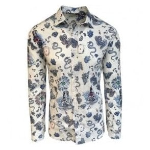 Etro White Playing Card & Snake Print Shirt In Italian Cotton 16376 4796 0991