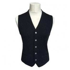 Gran Sasso Expressly For Robert Fuller Black Single Breasted Waistcoat 56170 - 14252