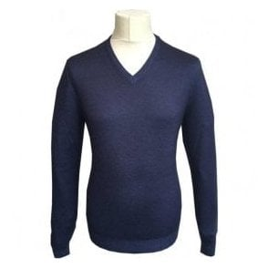Gran Sasso Expressly For Robert Fuller Navy V-Neck Pullover 55115 22792