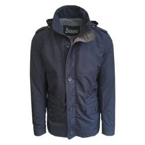 Herno Navy Woven Hooded Coat GC0029U-12010-9201