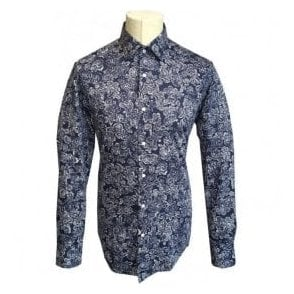 Hugo Boss 'Jenno' Slim Fit Dark Blue Paisley Pattern Shirt 50379640