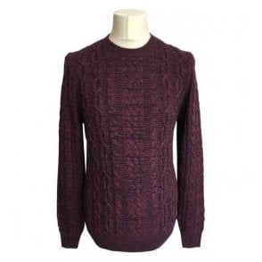 Hugo Boss 'Kassly' Dark Red Cable Knit Crewneck Jumper 50373868