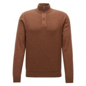 Hugo Boss 'Nacello' Rust Brown Regular Fit Zip-Collar Sweater in Virgin Wool 50373771