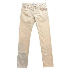 Jacob Cohen Beige Jeans With Auburn Horsehide Back Belt Loop PW622 Vint Comf 0305-451