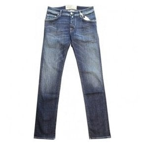 Jacob Cohen Garment Dyed Denim Jeans With Cream Horsehide Back Belt Loop PW622COMF 0918-002