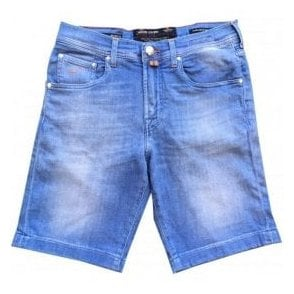 Jacob Cohen Garment Dyed Sky Blue Denim Shorts J6636 COMF 0968-004