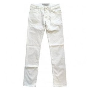 Jacob Cohen White Stretch Denim Jeans With Cream Horsehide Back Belt Loop PW622 COMF 100
