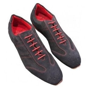 Jeffery West 'Cavern' Navy Suede Trainers With Red Details J1CAVERN-5NG1