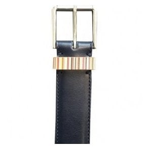 Paul Smith Black Leather Belt With Rainbow Stripe Detail AUXC/4950/B590A 47