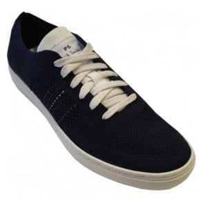 Paul Smith 'Doyle' Mesh Knitted Navy Trainers With White Details SUXD/V176/NYL 49