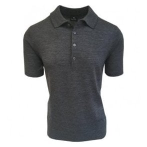 Paul Smith Grey Knitted Merino Wool Short-Sleeve Polo Shirt PUXD/883R/681 76