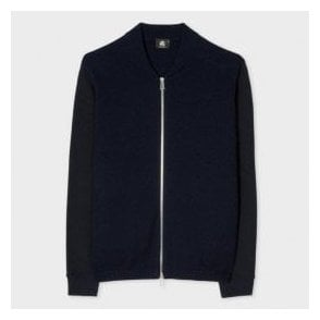 Paul Smith Navy and Black Wool-Cotton Blend Full Zip-Front Cardigan PTXD/654R/899 49