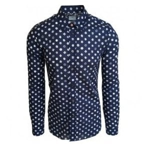 Paul Smith Tailored Fit Dark Blue Spiral Flower Print Shirt PUXD/612P/663 47