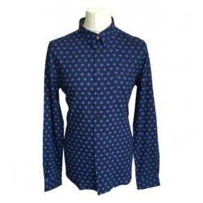 Paul Smith Tailored Fit Navy Shirt With Blue Star Pattern PTXD/614P/863 48