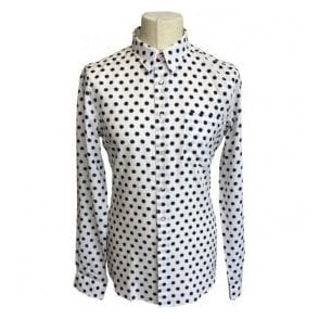 Paul Smith Tailored Fit White Shirt With Dark Blue Star Pattern PTXD/614P/863 02