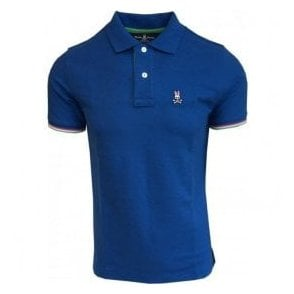 Psycho Bunny St Croix Daphne Bright Blue Polo Shirt With Contrasting Trims B6K657B1PC DAP