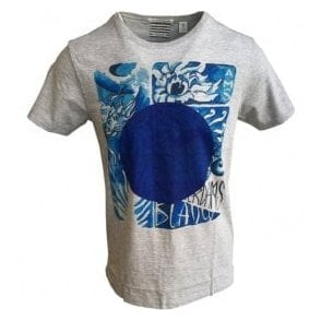 Scotch & Soda AMS Blauw 'Japanese Souvenir' Grey Short-Sleeve T-Shirt 141314