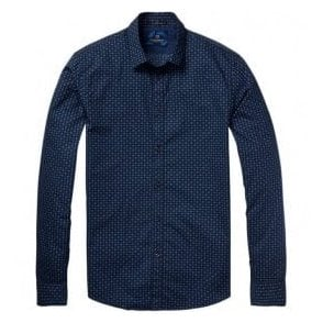 Scotch & Soda Blue Classic Long-Sleeve Single Cuff Poplin Shirt - Combo-E 136301